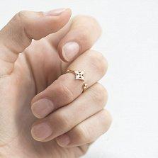 Золотое фаланговое кольцо Флорал с завальцованным фианитом в стиле Луи Виттон