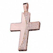 Крестик из красного золота Виолин с фианитами