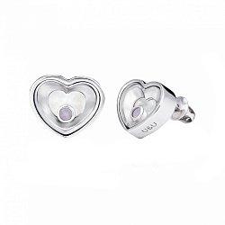 Серебряные пуссеты Сердце малое с плавающими синтезированными розовыми опалами, 8x8мм