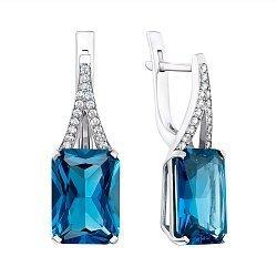 Серебряные серьги с кварцем London blue и фианитами 000141323