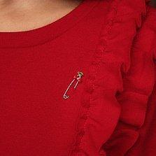 Серебряная булавка Вишенки с красной эмалью и родием