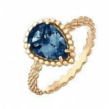 Золотое кольцо Юджиния с лондон топазом в стиле Бушерон