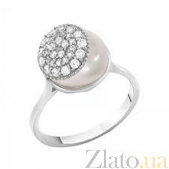 Золотое кольцо с жемчугом и фианитами Джанис SVA--1190281102/Жемчуг