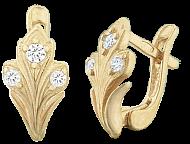Позолоченные серьги из серебра с фианитами Версаль