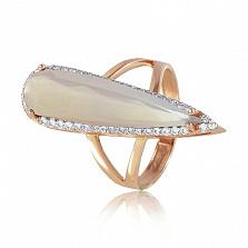 Золотое кольцо Галадриэль с бледно-розовым халцедоном и фианитами