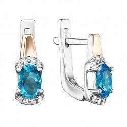 Серебряные серьги с золотыми накладками, кварцем под голубой топаз Swiss blue и фианитами
