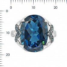 Кольцо из белого золота Эмилия с голубыми бриллиантами и топазом