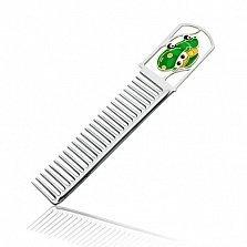 Серебряная расческа с зеленой эмалью Тачки