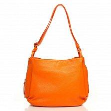 Кожаная сумка на каждый день Genuine Leather 8948 оранжевого цвета с декоративной молнией на торце