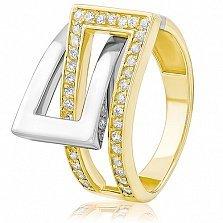 Золотое кольцо с кристаллами циркония Жильберта