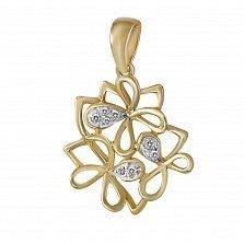 Золотой кулон Цветущая весна с бриллиантами