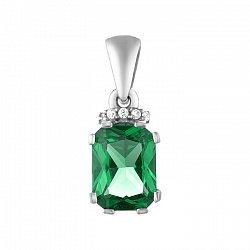 Серебряный кулон с зеленым кварцем и фианитами 000136544