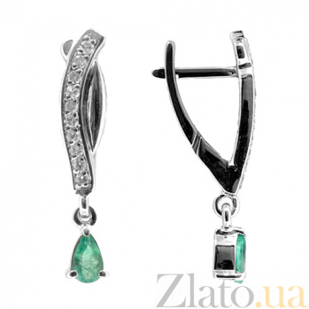 Золотые серьги с бриллиантами и изумрудами Хлоэ ZMX--EDE-6865w_K