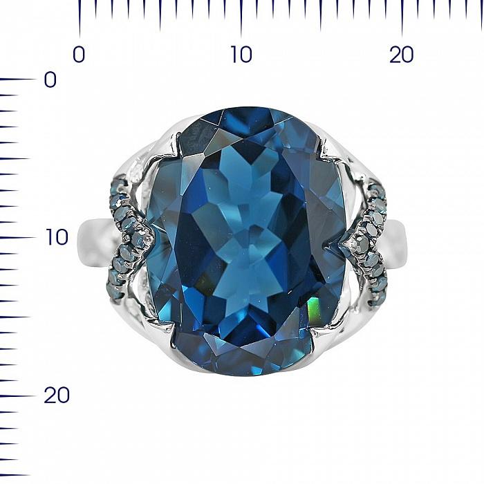 Кольцо из белого золота Эмилия с голубыми бриллиантами и топазом 000080873