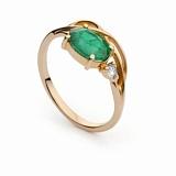 Золотое кольцо с изумрудом и бриллиантом Тэрезе