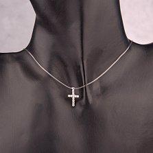 Колье на силиконовой нити Небо в алмазах с подвеской из серебра в форме крестика с фианитами