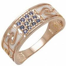 Золотое кольцо Роксет с сапфирами и эмалью