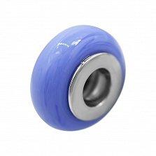 Серебряный шарм Акварель с синим муранским стеклом