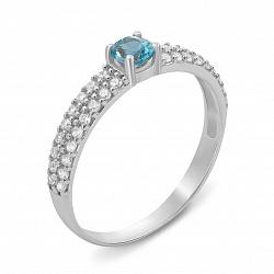 Серебряное кольцо с топзом swiss blue и фианитами 000135772