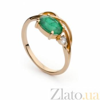 Золотое кольцо с изумрудом и бриллиантом Тэрезе 000030401