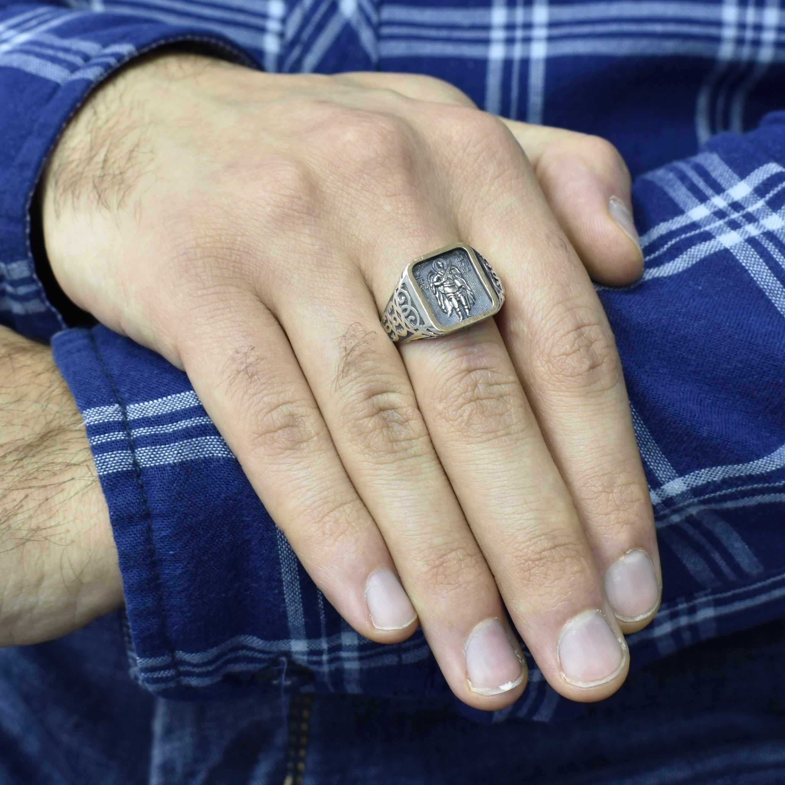 Серебряное кольцо-печатка Архангел Михаил с ликом, золотой накладкой и чернением
