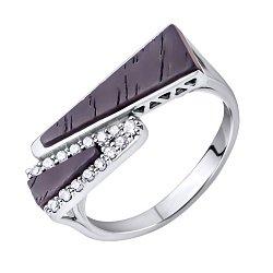 Золотое кольцо Дориана в белом цвете с коньячным эбеновым деревом и фианитами