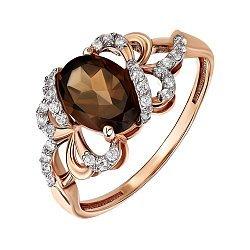 Золотое кольцо в комбинированном цвете с раухтопазом и фианитами 000146010