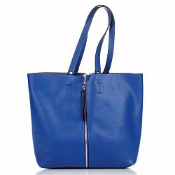 Кожаная сумка на каждый день Genuine Leather 7742 синего цвета с декоративной вертикальной молнией