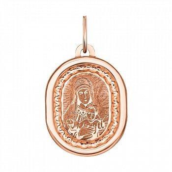 Ладанка из красного золота Божья Матерь с насечками 000134744