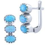 Серебряные серьги Нитья с голубыми опалами