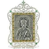 Серебряная икона с образом Святителя Николая Чудотворца