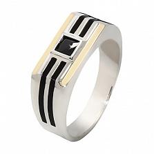 Серебряное кольцо с золотыми вставками и цирконием Жульен