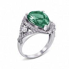Серебряное кольцо Мерилин с зеленым агатом и фианитами