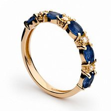 Золотое кольцо с сапфирами и бриллиантами Джудит