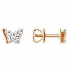 Золотые серьги Мотыльки с фианитами
