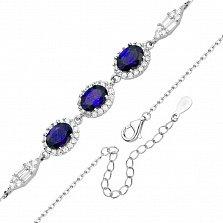 Серебрянный браслет с сапфирами и фианитами в якорном плетении 000131823