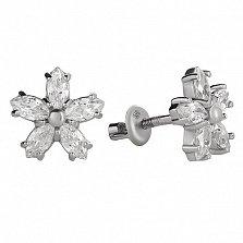 Серебряные серьги-пуссеты Флер с белым цирконием