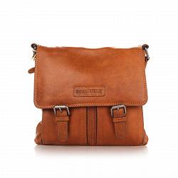 Кожаная мужская сумка HILL BURRY 3076 коричневого цвета с двумя пряжками