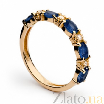 Золотое кольцо с сапфирами и бриллиантами Джудит 000030321