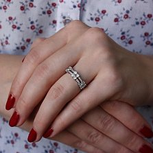 Серебряное кольцо с фианитами Илайн