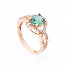 Золотое кольцо Аделфа с зеленым кварцем и белыми фианитами