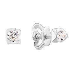 3олотые серьги-пуссеты Треугольники в белом цвете с фианитами 000064795
