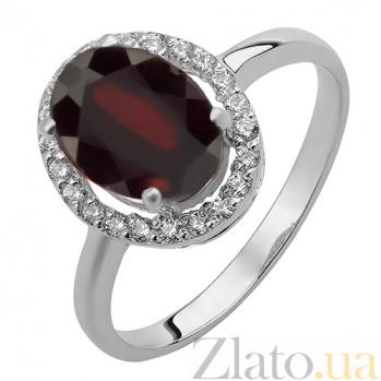 Серебряное кольцо Эйвис с гранатом и фианитами 000032459