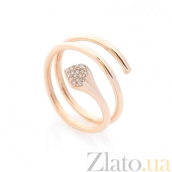 Золотое кольцо-спираль Снейк с белыми фианитами 000082395