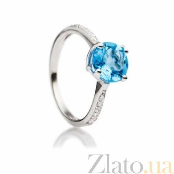 Серебряное кольцо с голубым топазом и фианитами Илона 000030664