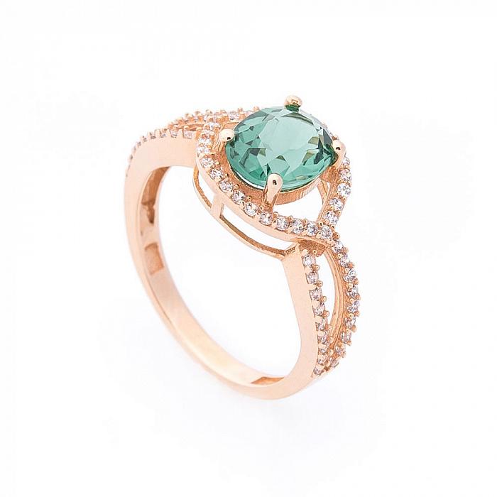 Золотое кольцо Аделфа с зеленым кварцем и белыми фианитами 000082324