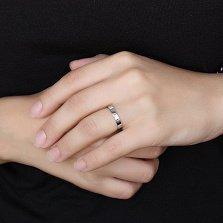 Золотое обручальное кольцо Классика в белом цвете