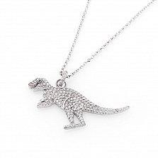 Серебряное колье Динозаврик с фианитами