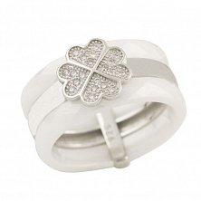Серебряное кольцо Женевьева с белой керамикой и фианитами