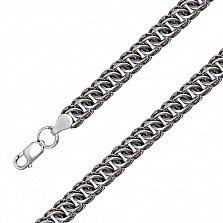 Серебряный чернёный браслет Терис в плетении питон, 9мм